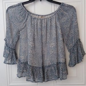 Lucky Brand Boho Peasant Top Blue Size XS